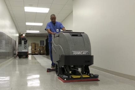MAGNUM-EDGE-floor-scrubber-stripping-VCT-in-hospital